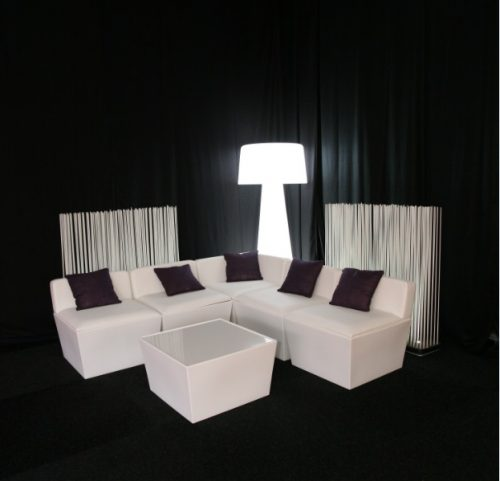 white sofa seating modules for hire with black scatter cushions