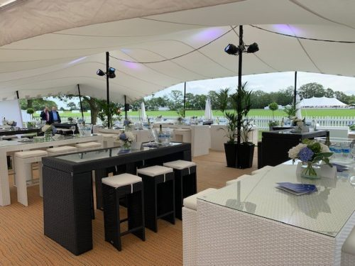 event furniture hire: black and white rattan table and six chairs at billingbear polo