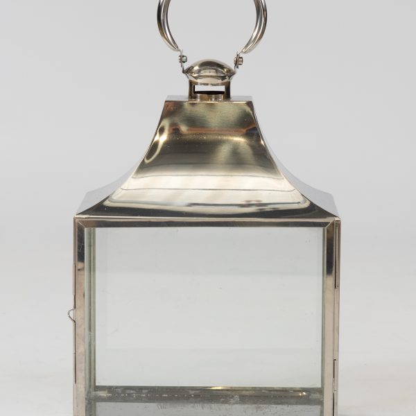 square stainless steel lantern for hire