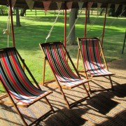 Striped deckchair to hire