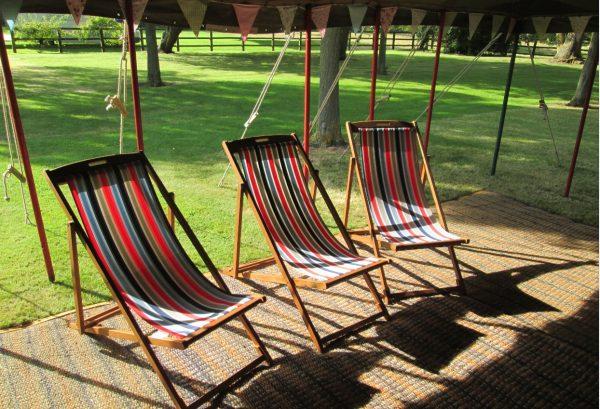 Striped deckchair to hire