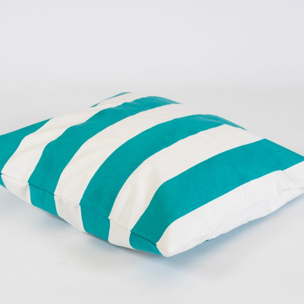 Scatter cushions in teal/white stripe