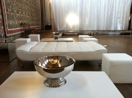 lola daybed with club coffee table teamed with champagne bowls and club ottomans all in white