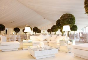 white marquee and venue styling
