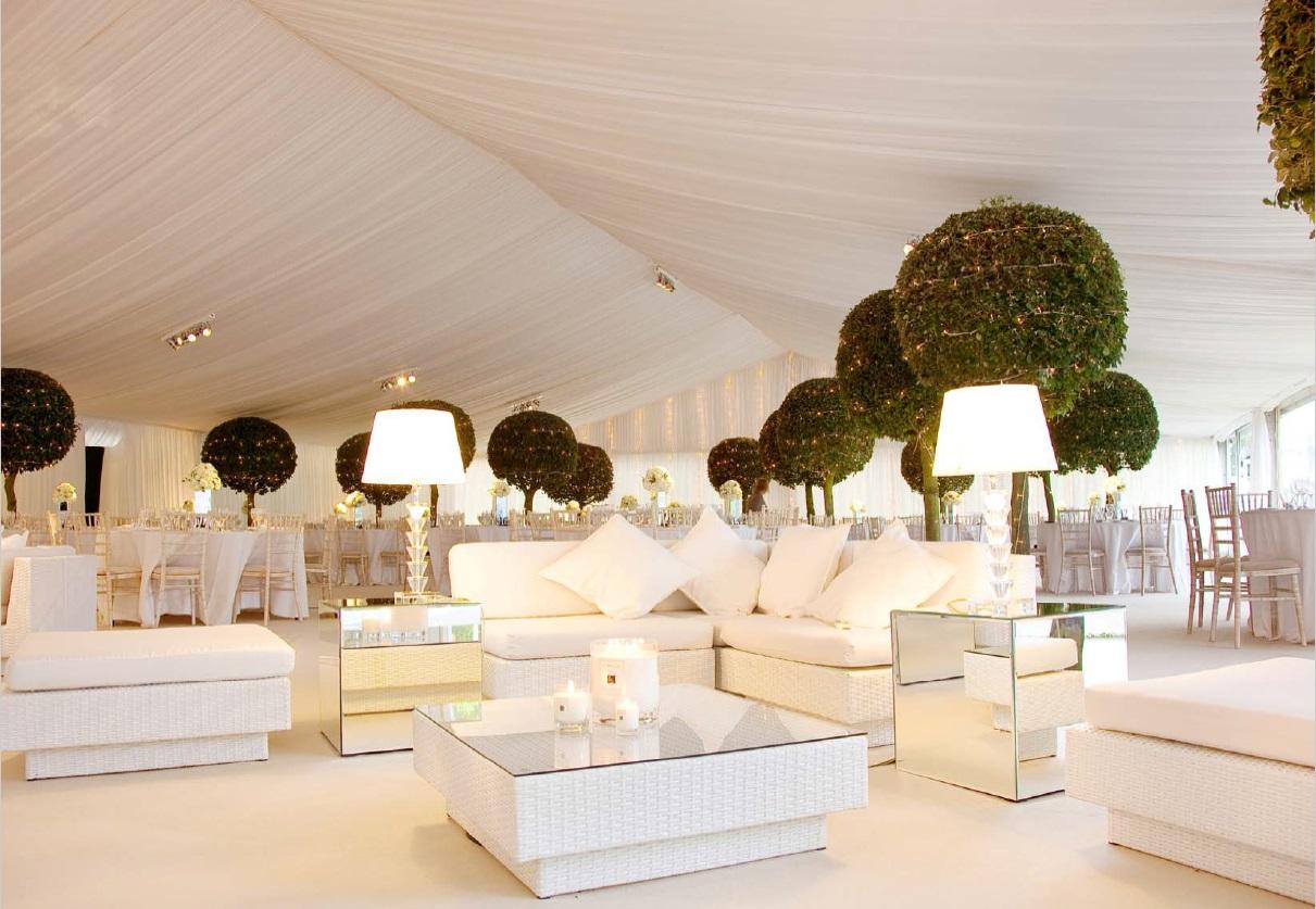 Marrakesh White Outdoor Rattan Sofa Hire Rio Lounge