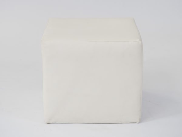 White cube ottoman seat to hire