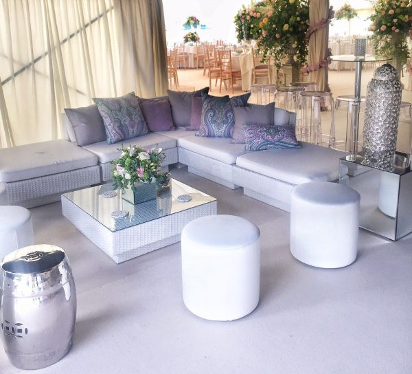 white marrakesh sets with club poufs and ghost stools and daiquiri poseur tables