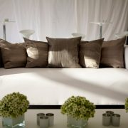 club lounge sofa with silver scatter cushions