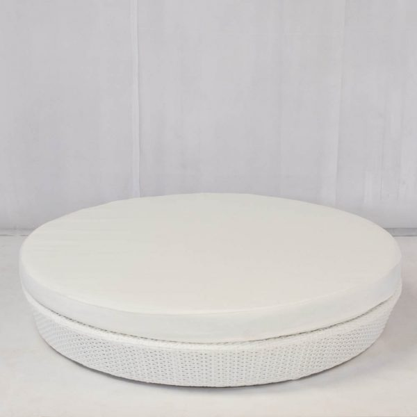 Rattan Furniture Hire: circular daybed in white rattan with cotton mattress: chill out furniture hire