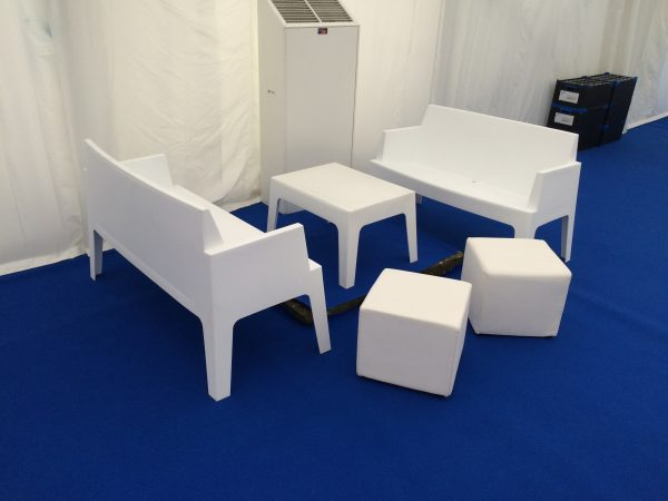 mambo white outdoor sofas table and white faux leather club ottomans