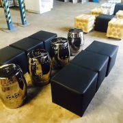 Taj silver stools and black club ottomans