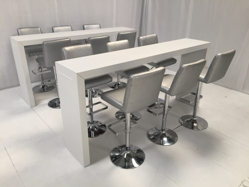 High white bar table with silver bar stools