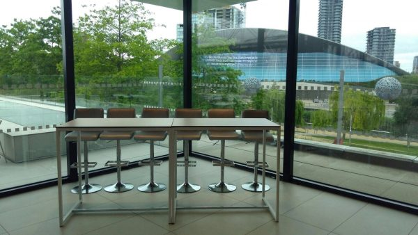 kubo bistro tables and silver bar stools