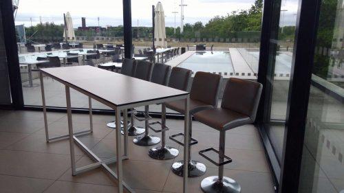 Mandalay silver bar stools and Kubo high bistro table at Olympic Park