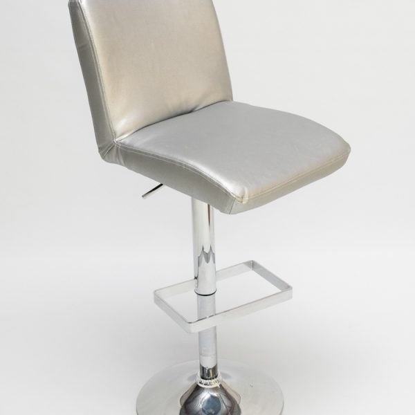 bar stool for hire in faux leather silver with seat back