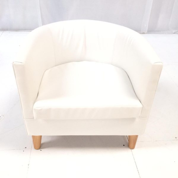 exhibition furniture hire: white faux leather tub chair