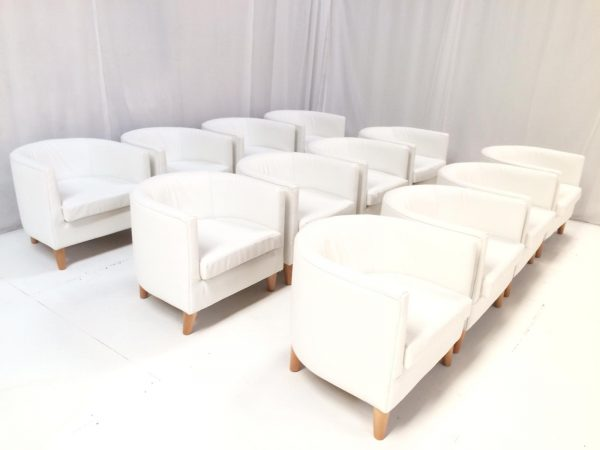 event furniture hire: curved white faux leather tub chair