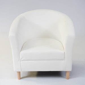 white faux leather tub chair; chair hire