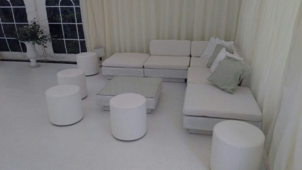 club poufs with white marrakesh sofas