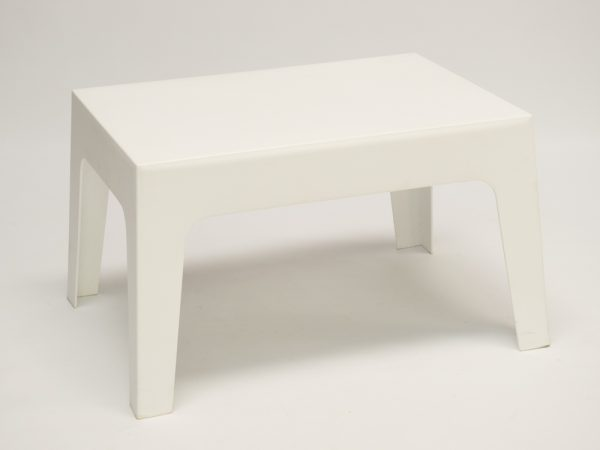 white plastic table hire