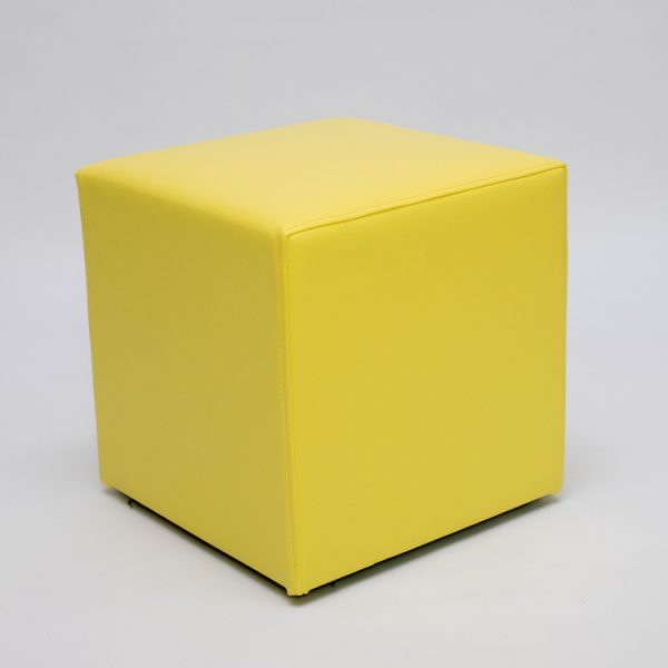 cube seating ottoman in yellow for hire