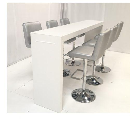 Titan high bar table with Mandalay silver bar stools