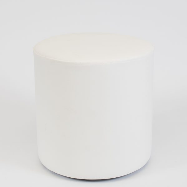 round pouf seat in white;ottoman hire