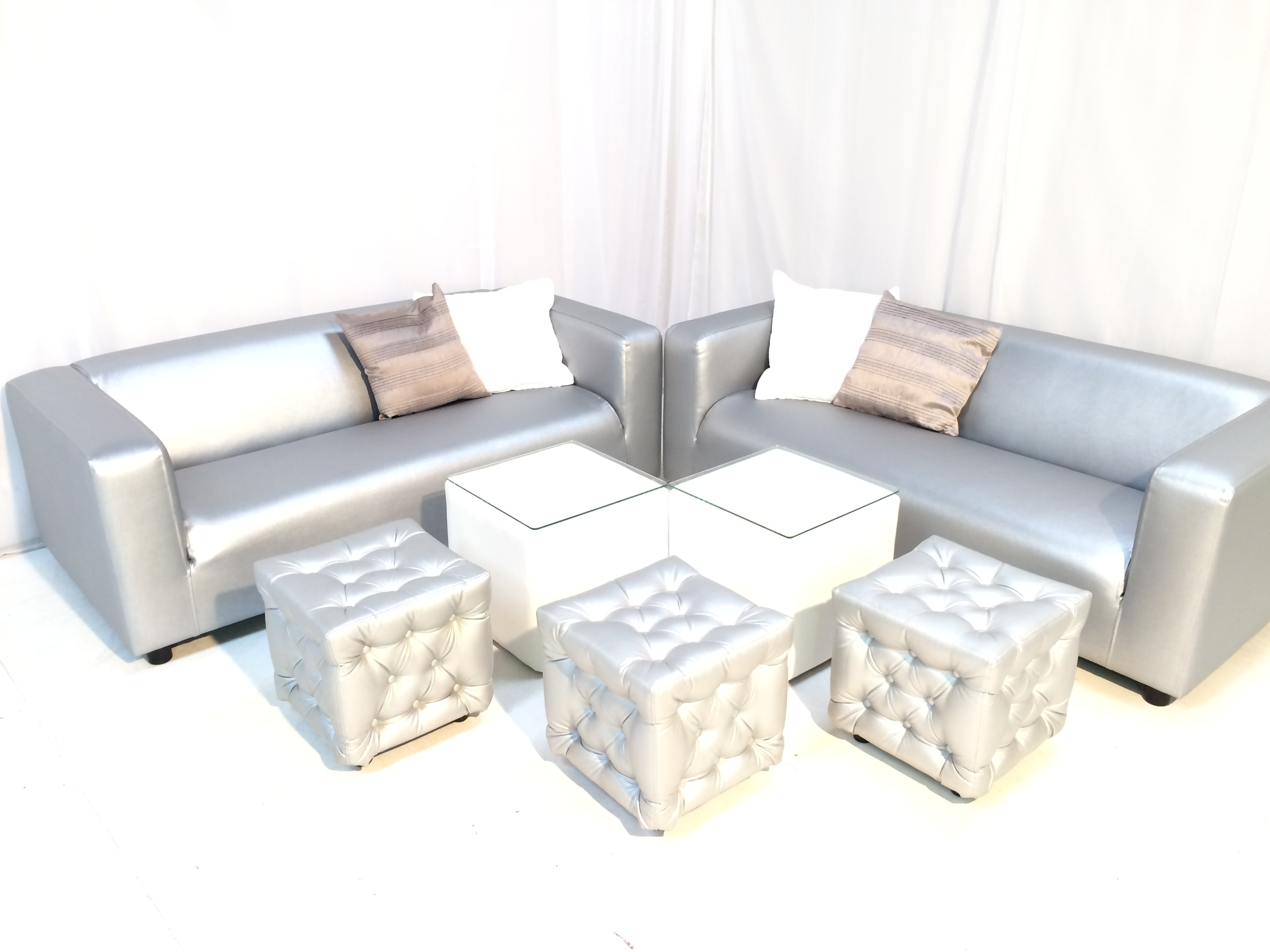 Chesterfield Silver Ottoman Hire Rio Lounge