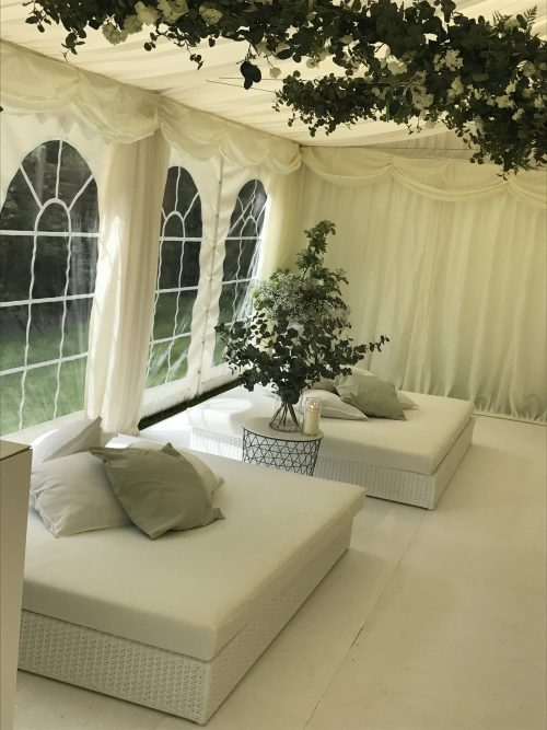 Tobago White Daybeds in marquee with scatter cushion hire