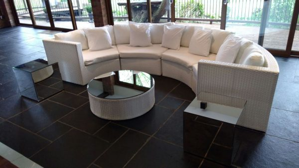 White Bulgari sofa set with client's own mirror top on table