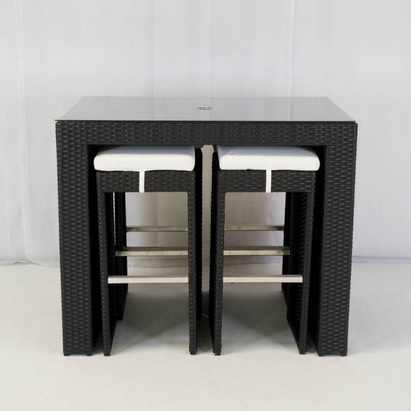 south beach bistro set black seating 4 for hire
