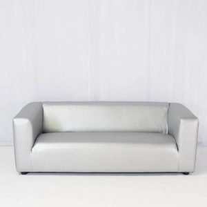 wedding furniture hire: club lounge sofa silver for hire