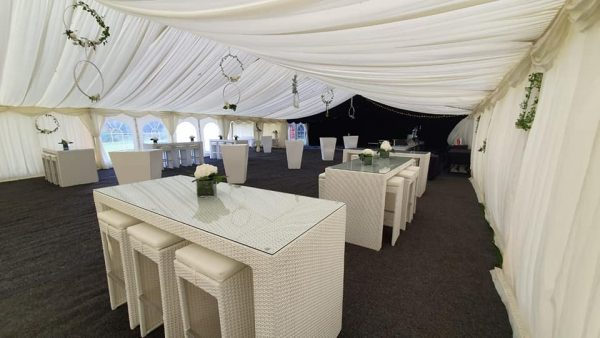 outdoor furniture hire: white rattan bistro furniture hire in marquee