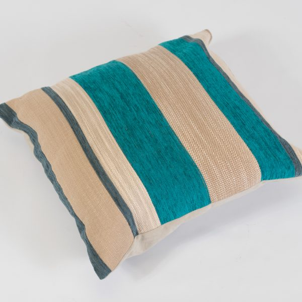 scatter cushion teal stripe for hire