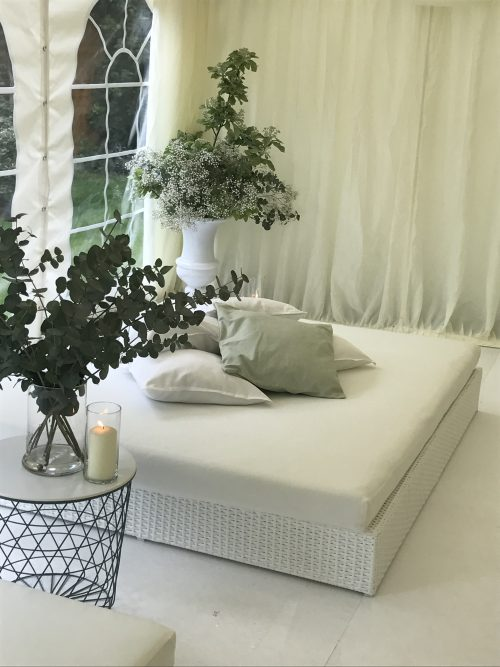 Tobago white daybed hire in marquee with scatter cushion hire