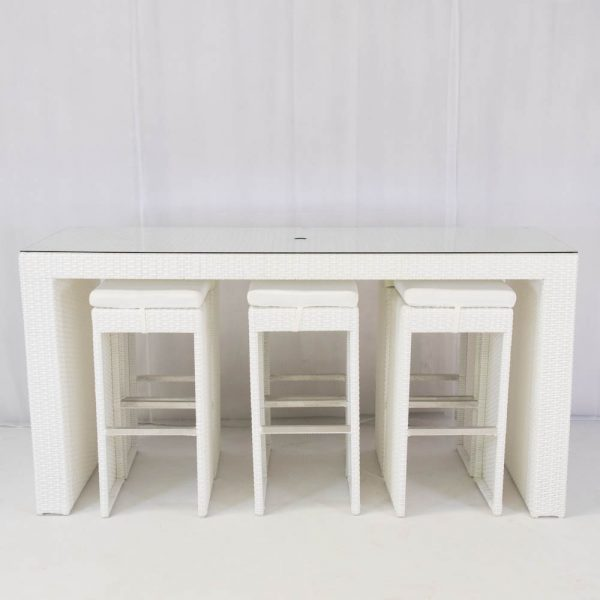 south beach bisto set white seating 6 for hire