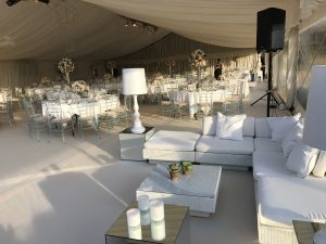 White rattan Marrakesh sofa sets with white scatter cushions and Fullerton Lamp