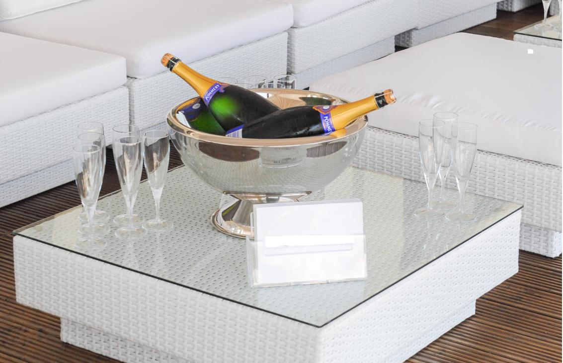 champagne bowl hire for luxury wedding