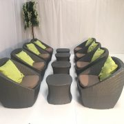 Delano Tub Chairs with lime green scatter cushion