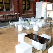 luxury round poufs with marrakesh sofas at event