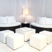 luxury wedding white club ottomans used for white seating hire