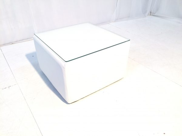 cabo large white cube table in faux leather