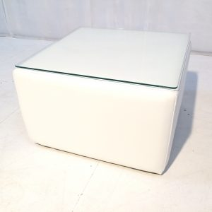 cabo faux leather large white cube table