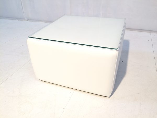 exhibition furniture hire: cabo faux leather large white cube table