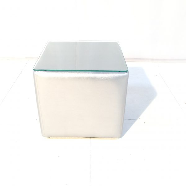 Cabo silver cube table with glass top