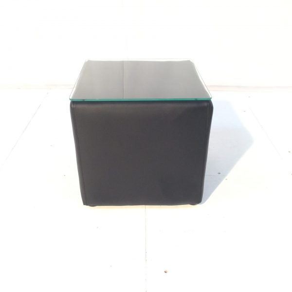 cabo small black cube table with glass top