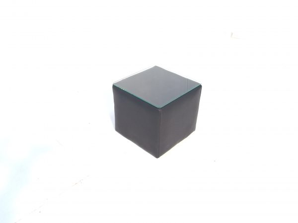 black cubed table with glass top