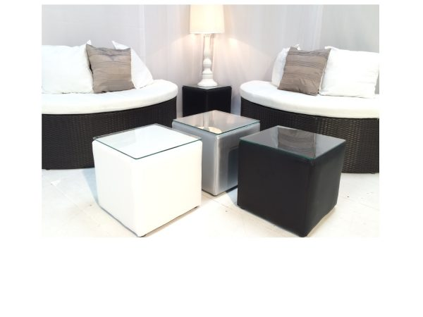 cabo small black cube table with white cube table and silver cube table and banyan sofa halves