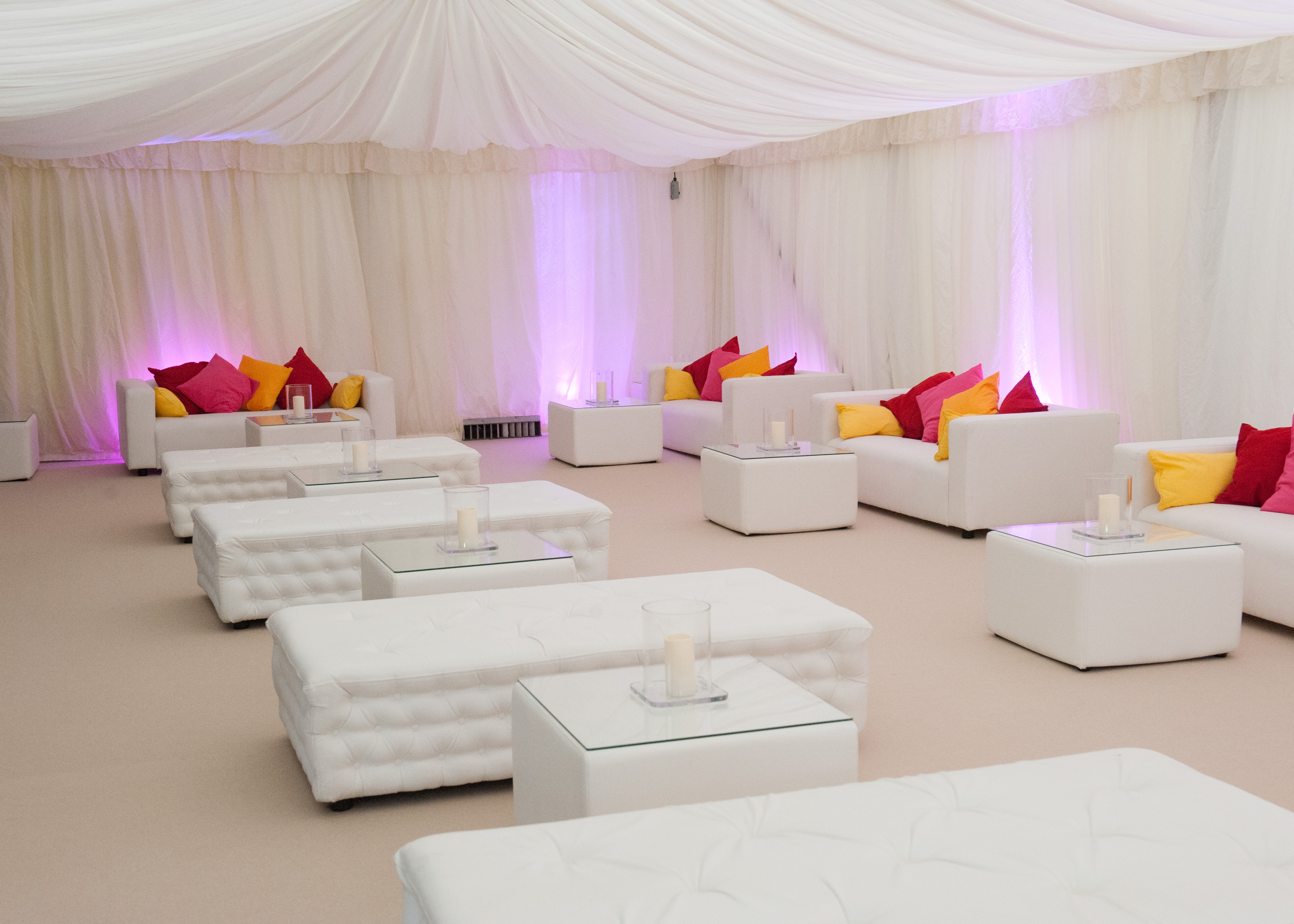 Faux Leather Chesterfield Benches in Marquee with Matching Tables