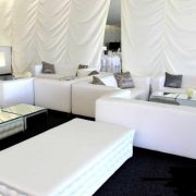 white chesterfield bench with white club lounge sofa and mirror cubes